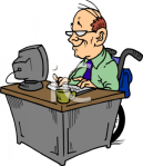 typing-clipart-1886_picture_of_a_happy_disabled_man_in_a_wheelchair_typing_at_his_desk